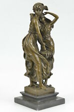 Signed Moreau Beautywith Girl Bronze Sculpture Marble Base Statue Figurine