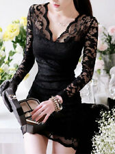 Ladies Women Sexy Long Sleeve V-neck Mini Slim Lace Pencil Clubbing Party Dress