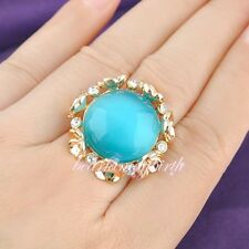 Cat's Eye Blue Green Gem Cocktail Ring SZ 7 8 size 9 6 Ring 18k GP BNIB GF R567