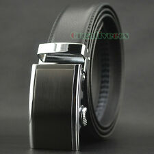 New Luxury Fashion Men's Dress Genuine Leather Belt Waist Strap Auto Lock Buckle