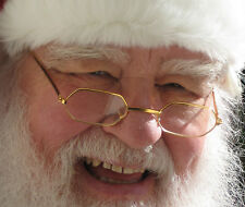 Costume Glasses Hexagonal Gold Wire Santa Claus Steampunk Clear Lenses S66201