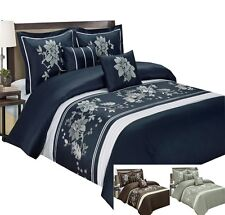 Myra 10PC Cotton Embroidered Bed in a Bag (Duvet Cover, Comforter, & Sheet Set)