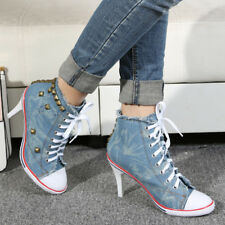 Womens Fashion Rivet High Heel Stiletto Denim Canvas Lace Up Sneaker Classic New