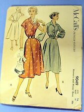 Vintage McCalls Sewing Pattern 9049 Button Front Dress/Flared Skirt 1950s SZ 16