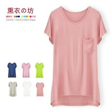 Women Solid Colored Jersey Scooped Neck Cap SLEEVE KNIT Drape TOP TEE Shirt