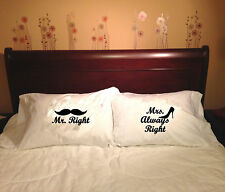 White Printed PILLOW CASES SET - DECORATIVE PILLOWS - For the Perfect Couple!