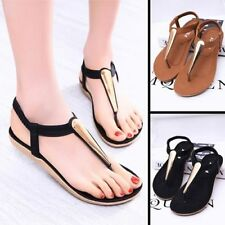 New Fashion Summer Women Lady Girl Metal Shoes Sandals Flat Heel T-Strap Sandel