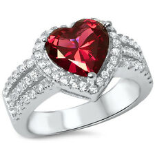 3ct Heart Shape Ruby & Cz .925 Sterling Silver Ring Sizes 6-9