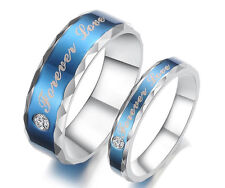 """His and Her Stainless Steel Couple Wedding Engagement Rings """"Forever Love"""" Free"""
