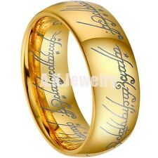 8MM Mens The Lord Of Ring Gold Plated Tungsten Carbide Mens Wedding Band Ring