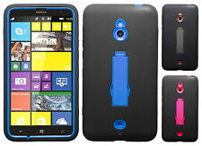 Nokia Lumia 1320 IMPACT Hard Rubber Case Phone Cover Kickstand + Screen Guard
