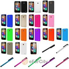 Silicone Rubber Soft Case Cover Skin For Nokia Lumia 635+Stylus Pen+LCD Shield