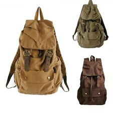 Men's Vintage Canvas Leather Hiking Travel Military Backpack Messenger Bag 2105
