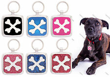 PERSONALIZED PET NAME TAGS ID KEY CHARM DOG I.D TAG PAWPRINT PET TAGS CROSSBONE