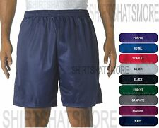 """Mens Mesh Jersey Athletic Gym Running Shorts 7"""" Inseam Wicking NO POCKETS S-4XL"""