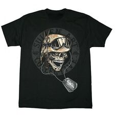 "Sullen Mens ""Mess Hall"" Tattoo Style Skull With Military Dog Tags T-Shirt NWT"