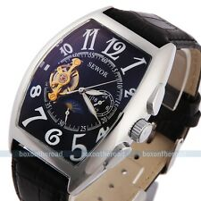 Mens Classic Transparent leather Steampunk Skeleton Auto Mechanical Wrist Watch