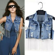 New Fashion Women lady Casual Sleeveless denim vest Button Down Jean Jacket Coat