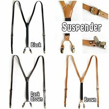 New Mens Women Elastic Faux Leather Suspenders Brass Y-Back Braces 4 Clip Belts