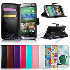 Flip Leather Wallet Case Cover Stand For HTC ONE M8 2014 + Free Screen Protector
