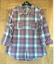 Bhs New Pink/white Check Summer Shirt Top Blouse Uk 10-14 Bnwot