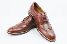New Men's Brown Ferro Aldo Shoes Original Perforation Details Block Heel Lace Up