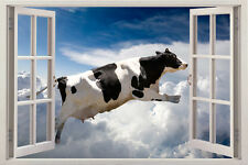 COW FUNNY 3D Window View Removable Wall Art Sticker Vinyl Decal Home Decor Mural