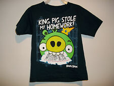 """ANGRY BIRDS """"KING PIG STOLE MY HOMEWORK"""" SHIRT T-SHIRT  (navy graphic)  NWT"""