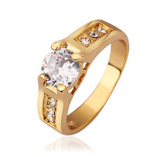 Genuine 18K Gold / Rose Gold GP Simulated Diamond Engagement Wedding Ring Size 8