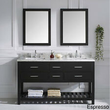 Virtu USA Caroline Estate Italian Carrara White Marble Double Sink Bathroom Vani