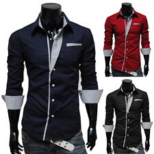 Sexy Mens Stylish Slim Fit Long Sleeve Button Down Dress Shirts Casual Tops S-XL