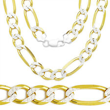 8mm Solid 14k Yellow Gold Sterling Silver Figaro Link Italian Chain Necklace