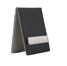 NEW Mens Faux Leather Silver Money Clip Slim Wallets Black ID Credit Card Holder