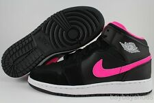 NIKE AIR JORDAN 1 MID HI GG BLACK/HYPER PINK/WHITE NEON WOMEN GIRLS KIDS YOUTH