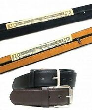 Men's Leather Belt with Hidden Zippered Compartment