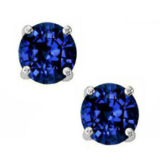 Round Cut Cubic Zirconia Blue Sapphire Sterling Silver September Stud Earrings