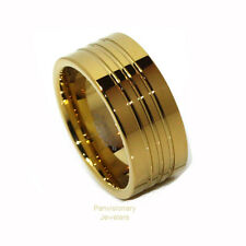 Tungsten Carbide Ring 9MM 18K Yellow Gold IP Pipe Cut Polished Channels