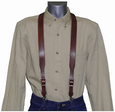 Brown Leather Suspenders with scissor snaps no slip trigger snaps