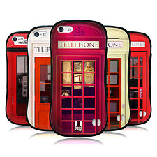 HEAD CASE TELEPHONE BOOTH HYBRID GEL BACK CASE FOR APPLE iPHONE 5C