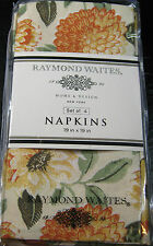 SET OF 4 RAYMOND WAITES OF NEW YORK -ELEGANT CLOTH FLORAL DINNER NAPKINS 19X 19