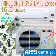 3 Zone TRIPLE Multi Split PIONEER 16 SEER INVERTER Mini Split Ductless Heat Pump