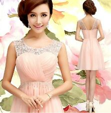 New Short Formal Wedding Prom Party Bridesmaid Evening Ball Gown Dress Pink L171