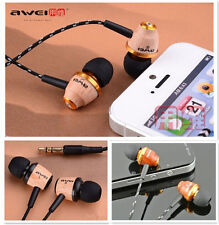Genuine Awei Wooden Super Bass Earbuds Headphones Headset For iPhone/MP3/Tablet