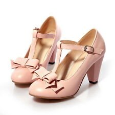 Womens Kitten Hight Heel T Strap Bar mary Janes Retro Pump shoes Plus Size 35-43