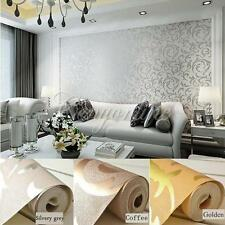 High-Class Luxury Embossed Pattern Textured Wallpaper Rolls Silver/Gold 10M