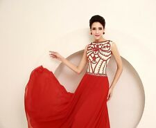 New Red Wedding Boat Neck Long Pageant Evening Bridal Party Gown Dress Prom Ball