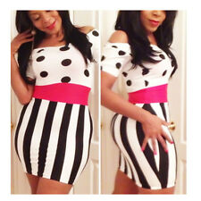 New Sexy Womens Polka Dots Black White Striped bodycon Stretch Mini Party Dress