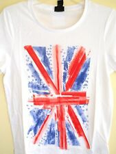 H&M T-Shirt Union Jack Print XS S M L XL Cotton Short Sleeve White British Flag