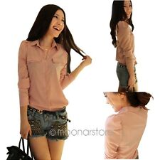 Stylish Stand Collar Lapel Long Button Down T-Shirt Puff Sleeve Tops Blouses