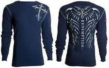 Archaic AFFLICTION Mens THERMAL Whipstitch Shirt SPINE WINGS Biker UFC M-XXL $58